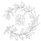 Εγχώριο γλυκό σπίτι, συρμένος χέρι εμπνευσμένος floral γραφικός Στοκ Φωτογραφία