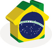 Εγχώριο εικονίδιο σπιτιών με τη σημαία της Βραζιλίας στο γρίφο Στοκ φωτογραφίες με δικαίωμα ελεύθερης χρήσης