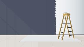 Εγχώριο εσωτερικό σχέδιο Τα σκαλοπάτια τοποθετούνται στη μέση του καθιστικού που ο τοίχος δεν ήταν τελειωμένη ζωγραφική διάνυσμα ελεύθερη απεικόνιση δικαιώματος