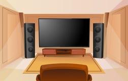 Εγχώριο θέατρο στο ύφος κινούμενων σχεδίων με τη μεγάλη TV Δωμάτιο με τον καναπέ r Ακουστικός στερεοφωνικός ήχος ελεύθερη απεικόνιση δικαιώματος