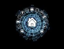 Εγχώριο κουμπί μιας διεπαφής τεχνολογίας που περιβάλλεται από την εφαρμογή Στοκ Φωτογραφία
