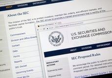 Εγχώριο webpage SEC στοκ εικόνα