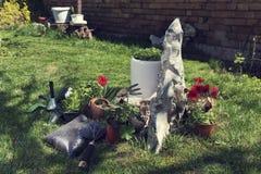 Εδαφολογικά εργαλεία λουλουδιών και ηλιακοί λαμπτήρες σε έναν κήπο Άνοιξη Στοκ εικόνες με δικαίωμα ελεύθερης χρήσης