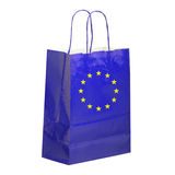 ΕΕ, ευρωπαϊκή τσάντα μεταφορέων εγγράφου, αγοραστής, με τη σημαία, που απομονώνεται στο λευκό Στοκ Εικόνες