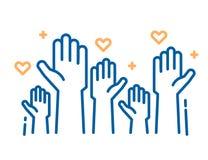 Εθελοντές και εργασία φιλανθρωπίας Αυξημένα χέρια βοηθείας Διανυσματικές λεπτές απεικονίσεις εικονιδίων γραμμών με ένα πλήθος των διανυσματική απεικόνιση