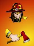 Εθελοντής πυροσβέστης με το τσεκούρι διαθέσιμο, τη διανυσματική απεικόνιση Στοκ εικόνες με δικαίωμα ελεύθερης χρήσης