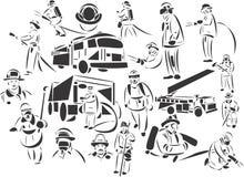 εθελοντείς πυροσβέστες διανυσματική απεικόνιση