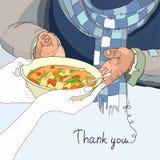 Εθελοντικό δίνοντας πιάτο των τροφίμων στους αστέγους στα φορεμένα ενδύματα διανυσματική απεικόνιση