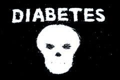 Εθισμός ζάχαρης που προτείνεται από τα κρύσταλλα άσπρης ζάχαρης που διαμορφώνουν ένα κρανίο Mellitus έννοια διαβήτη στοκ εικόνες