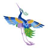 Εθνικά αφηρημένα μαγικά πουλιά σχεδίων στο ιαπωνικό ύφος Στοκ Φωτογραφία