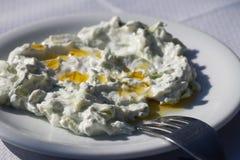 Εθνικά ελληνικά τρόφιμα - tzatziki που εξυπηρετείται σε ένα άσπρο πιάτο στοκ εικόνες