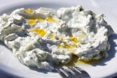 Εθνικά ελληνικά τρόφιμα - tzatziki που εξυπηρετείται σε ένα άσπρο πιάτο στοκ εικόνα με δικαίωμα ελεύθερης χρήσης