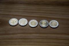 Εθνικά ευρο- νομίσματα επετείου Λετονικό νόμισμα Στοκ Φωτογραφίες