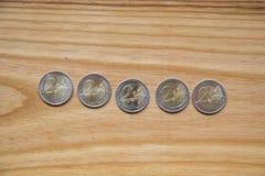 Εθνικά ευρο- νομίσματα επετείου Λετονικό νόμισμα Στοκ Εικόνες