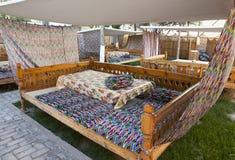 Εθνικά κρεβάτια για την παραδοσιακή τοπική κατανάλωση κουζίνας Ουζμπεκιστάν στοκ φωτογραφία με δικαίωμα ελεύθερης χρήσης