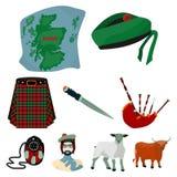 Εθνικά σύμβολα της Σκωτίας Σκωτσέζικη έλξη Εικονίδιο χωρών της Σκωτίας στην καθορισμένη συλλογή στο διάνυσμα ύφους κινούμενων σχε Στοκ Εικόνες