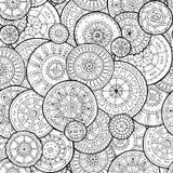 Εθνικά floral mandalas, doodle κύκλοι υποβάθρου στο διάνυσμα πρότυπο άνευ ραφής Στοκ Εικόνες