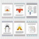 Εθνικές κάρτες Βέλη, ινδικά στοιχεία, των Αζτέκων σύνορα και καλλωπισμοί απεικόνιση αποθεμάτων
