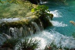 Εθνικές λίμνες Κροατία Plitvice πάρκων - ένας μικρός καταρράκτης και εγκαταστάσεις σε το στοκ φωτογραφίες