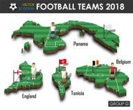Εθνικές ομάδες 2018 ομάδα Γ ποδοσφαίρου Ποδοσφαιριστής και σημαία στον τρισδιάστατο χάρτη χωρών σχεδίου Απομονωμένο υπόβαθρο Διάν ελεύθερη απεικόνιση δικαιώματος