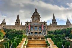 Εθνικές παλάτι και Placa de Espanya - Βαρκελώνη Στοκ Εικόνες