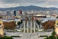 Εθνικές παλάτι και Placa de Espanya - Βαρκελώνη Στοκ φωτογραφίες με δικαίωμα ελεύθερης χρήσης