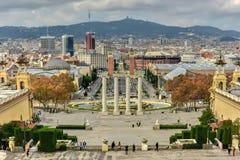 Εθνικές παλάτι και Placa de Espanya - Βαρκελώνη Στοκ Φωτογραφία