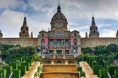 Εθνικές παλάτι και Placa de Espanya - Βαρκελώνη Στοκ Εικόνα
