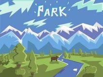 Εθνική διανυσματική απεικόνιση πάρκων με τα βουνά απεικόνιση αποθεμάτων