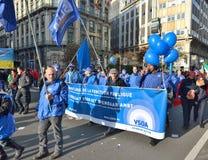 Εθνική εκδήλωση ενάντια στα μέτρα λιτότητας που εισάγονται από τη βελγική κυβέρνηση Στοκ εικόνες με δικαίωμα ελεύθερης χρήσης