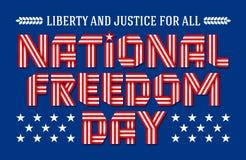 Εθνική ευχετήρια κάρτα ημέρας ελευθερίας επίσης corel σύρετε το διάνυσμα απεικόνισης Στοκ εικόνα με δικαίωμα ελεύθερης χρήσης