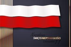 Εθνική ημέρα της ανεξαρτησίας της Πολωνίας με τα χρυσά στοιχεία στοκ εικόνα