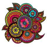 Εθνική διακόσμηση mehndi ινδικό ύφος Όμορφη floral σύνθεση τέχνης doodle Floral σχέδιο Doodle Διακόσμηση Zentangle Στοκ Φωτογραφίες