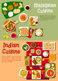 Εθνική ινδική και μαλαισιανή κουζίνα ελεύθερη απεικόνιση δικαιώματος