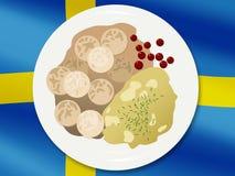 Εθνική κουζίνα Σουηδικά κεφτή σε ένα υπόβαθρο σημαιών Στοκ Εικόνα
