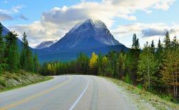 Εθνική οδός μέσω του Canadian Rockies κατά μήκος του χώρου στάθμευσης Icefields μεταξύ Banff και της ιάσπιδας Στοκ φωτογραφία με δικαίωμα ελεύθερης χρήσης