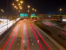 Εθνική οδός του Μόντρεαλ στη ώρα κυκλοφοριακής αιχμής, μακροχρόνια έκθεση Στοκ Φωτογραφίες