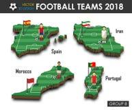 Εθνική ομάδα Β ομάδων 2018 ποδοσφαίρου Ποδοσφαιριστής και σημαία στον τρισδιάστατο χάρτη χωρών σχεδίου Απομονωμένο υπόβαθρο Διάνυ απεικόνιση αποθεμάτων