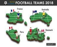 Εθνική ομάδα Γ ομάδων 2018 ποδοσφαίρου Ποδοσφαιριστής και σημαία στον τρισδιάστατο χάρτη χωρών σχεδίου Απομονωμένο υπόβαθρο Διάνυ απεικόνιση αποθεμάτων