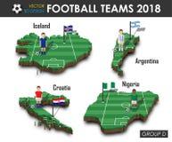 Εθνική ομάδα Δ ομάδων 2018 ποδοσφαίρου Ποδοσφαιριστής και σημαία στον τρισδιάστατο χάρτη χωρών σχεδίου Απομονωμένο υπόβαθρο Διάνυ απεικόνιση αποθεμάτων
