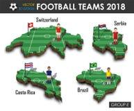 Εθνική ομάδα Ε ομάδων 2018 ποδοσφαίρου Ποδοσφαιριστής και σημαία στον τρισδιάστατο χάρτη χωρών σχεδίου Απομονωμένο υπόβαθρο Διάνυ απεικόνιση αποθεμάτων
