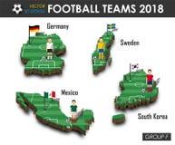 Εθνική ομάδα Φ ομάδων 2018 ποδοσφαίρου Ποδοσφαιριστής και σημαία στον τρισδιάστατο χάρτη χωρών σχεδίου Απομονωμένο υπόβαθρο Διάνυ απεικόνιση αποθεμάτων