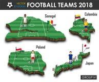 Εθνική ομάδα Χ ομάδων 2018 ποδοσφαίρου Ποδοσφαιριστής και σημαία στον τρισδιάστατο χάρτη χωρών σχεδίου Απομονωμένο υπόβαθρο Διάνυ διανυσματική απεικόνιση
