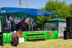 Εθνική ουκρανική μουσική ομάδα στις εθνικές πράξεις κοστουμιών σε Stra Στοκ εικόνα με δικαίωμα ελεύθερης χρήσης