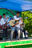 Εθνική ουκρανική μουσική ομάδα στις εθνικές πράξεις κοστουμιών σε Stra Στοκ Εικόνα