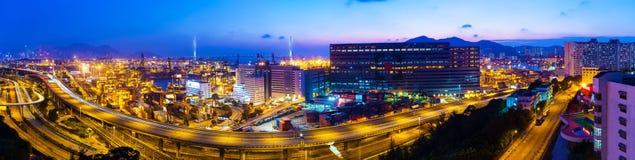 Εθνική οδός και μεταφορά Χονγκ Κονγκ στη στο κέντρο της πόλης περιοχή Στοκ Φωτογραφία