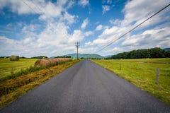 Εθνική οδός με τα απόμακρους βουνά και τους αγροτικούς τομείς στον αγροτικό Στοκ φωτογραφίες με δικαίωμα ελεύθερης χρήσης