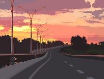 Εθνική οδός σε ένα υπόβαθρο του ρόδινου ηλιοβασιλέματος Στοκ Εικόνες