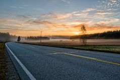 Εθνική οδός στα ξημερώματα Στοκ Εικόνα