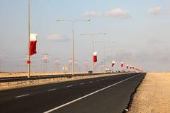 Εθνική οδός στο Κατάρ, Μέση Ανατολή στοκ εικόνα με δικαίωμα ελεύθερης χρήσης